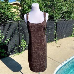 Michael Michael Kors Leopard Leather Strap Dress L